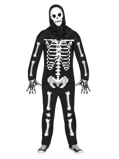 Schauriges Skelett Halloween-Kostüm Jumpsuit Plus Size schwarz-weiss