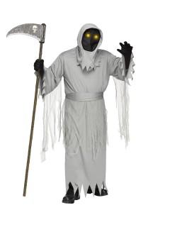 Schauriger Sensenmann Halloween-Kostüm mit animierter Maske Plus Size hellgrau-schwarz