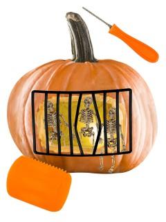 Panorama Schnitz-Set Skelett für Halloween-Kürbisse 10-teilig bunt