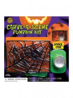 Panorama Schnitz-Set Spinnen für Halloween-Kürbisse 12-teilig bunt