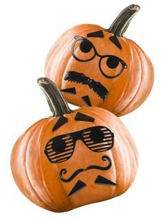 Halloween-Kürbis Accessoire-Set Brille und Bart 12-teilig schwarz