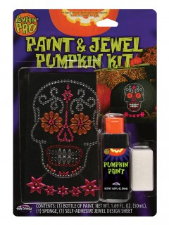 Kürbis Sticker-Set Strasssteine Totenkopf Sugar Skull Halloween bunt
