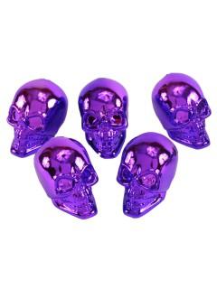 Totenschädel Halloween-Deko 5 Stück lila 8cm