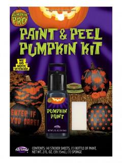 Kürbis Sticker-Set mit Farbe Halloween 6-teilig schwarz-orange-weiss