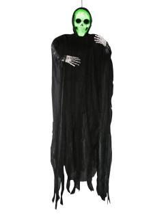 Schauriges Skelett mit Leuchteffekt Halloween-Hängedeko schwarz-weiss 183cm