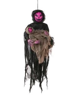 Grinsendes Kürbis-Monster mit Kind Halloween-Hängedeko schwarz-lila 81cm