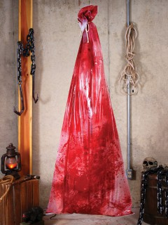 Blutiger Körper im Leichensack Halloween-Hängedeko rot 183cm