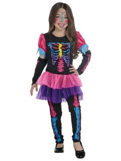 Süsses Skelettmädchen Halloween Kinderkostüm bunt