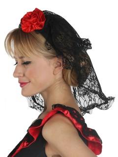 Haarreif mit Rose und Spitzenschleier schwarz-rot