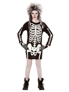 Gruseliges Skelett-Mädchen Halloween Kinderkostüm schwarz-weiss
