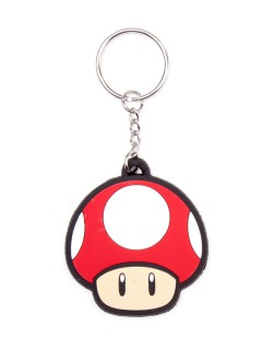 Schlüsselanhänger Nintendo Super Mario schwarz-weiss-rot 5 cm