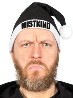 Humorvolle Anti-Weihnachtsmütze MISTKIND schwarz-weiss