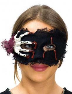 Skeletthand Augenmaske für Damen schwarz-weiss-rot