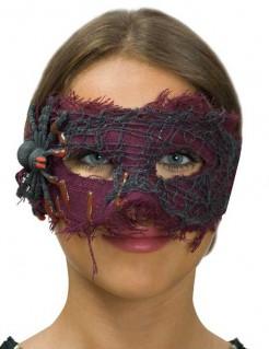 Spinnennetz-Maske Halloween-Damenmaske lila-schwarz