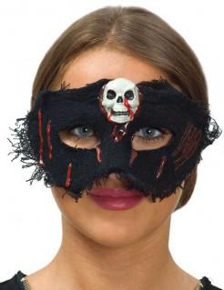 Halloweenaugenmaske für Damen mit Totenschädel schwarz-rot