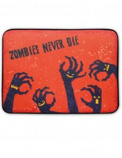 Leuchtende Halloween-Fussmatte Zombiehände mit Sound rot-schwarz