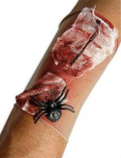 Blutige Wundenapplikation mit Spinne rot-schwarz