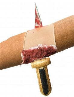 Blutige Wundenapplikation mit Messer Halloween beige-rot