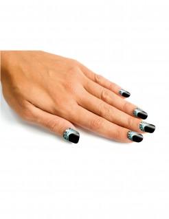 Hexen-Fingernägel mit Spinnennetz 24 Stück schwarz