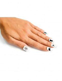 Halloween Fingernägel-Set 24-teilig weiss-schwarz