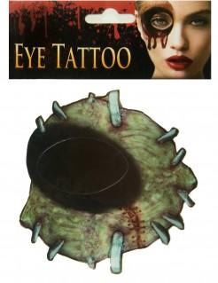Schauriges Zombie Augen-Tattoo Halloween-Accessoire bunt