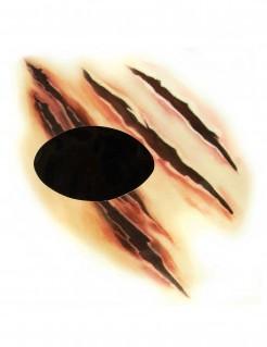 Werwolf Kratzwunde Halloween Augen-Tattoo hautfarben-schwarz