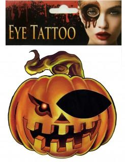 Kürbis Halloween Augen-Tattoo orange-schwarz