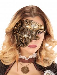 Detailreiche Halbmaske Steampunk gold