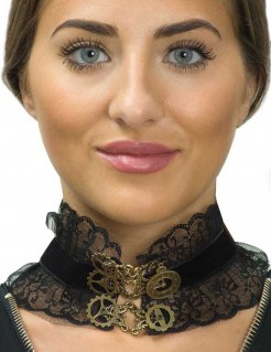 Steampunk-Halsband Halloween-Zubehör für Damen schwarz-gold