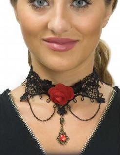 Gothic Vampirin Halloween-Halsband mit Spitze schwarz-rot