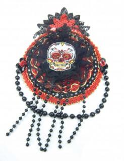Tag-der-Toten-Mütze für Damen Sugar Skull schwarz-rot
