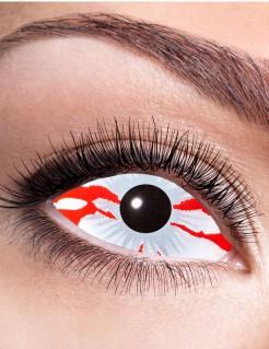 Blutige Sclera Halloween-Kontaktlinsen weiss-rot