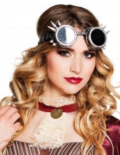 Steampunk Brille mit Stacheln für Erwachsene schwarz-silber