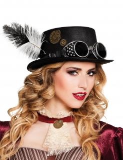 Hübscher Steampunk-Hut mit Brille und Feder für Erwachsene schwarz