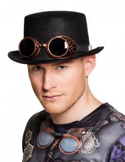 Steampunk-Hut mit Brille Accessoire schwarz-bronze