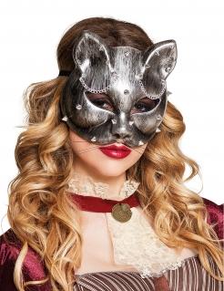Steampunk-Katzen-Augenmaske für Damen silberfarben