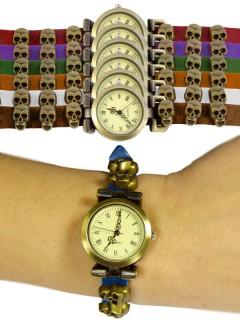 Steampunk-Armbanduhr Totenköpfe Halloween bunt 24cm