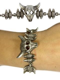 Gothic Armband Knochen und Stierschädel silber