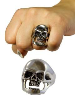 Gothic-Ring Totenkopf Halloween silber