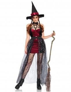 Mächtige Hexe mit Pentagramm Halloween-Damenkostüm rot-schwarz