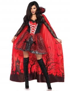 Verführerische Vampir-Lady mit langem Cape Halloween Deluxe-Kostüm für Damen rot-schwarz-weiss