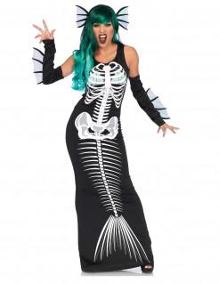 Skelett Meerjungfrau Halloween-Damenkostüm schwarz-weiss