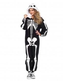 Skelett-Kigurumi mit Kapuze Halloween Kostüm für Damen schwarz-weiss