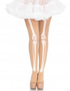 Knochen-Strumpfhose Halloween-Damenstrumpfhose beige-weiss