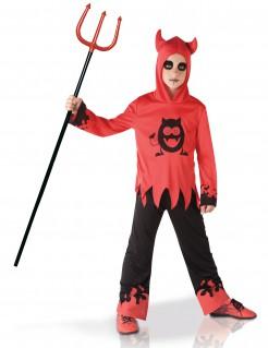 Kleiner Teufel mit Kapuze Kinderkostüm für Halloween rot-schwarz