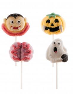Gruselige Lutscher Halloween-Süßigkeiten 4 Stück bunt