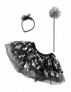 Skelett-Accessoires für Mädchen Halloween-Set 3-teilig schwarz-weiss