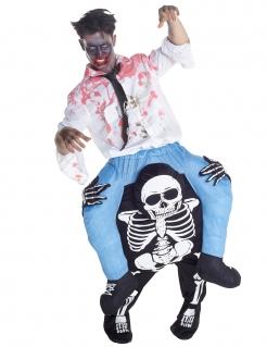 Skelett-Reiter Carry Me Halloween Kostüm für Herren schwarz-weiss-blau