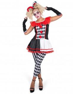 Harlekin-Damenkostüm für Damen Halloweenkostüm schwarz-weiss-rot