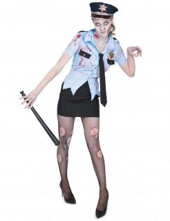 Sexy Zombie Polizistin Halloween Damenkostüm blau-schwarz-gold